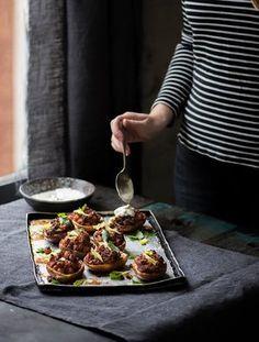 Twice-baked potato skins with crispy buffalo chickpeas