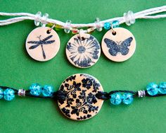 Stamped Teen Bracelets      Designer: Patti Milazzo - tutorial using wooden discs stamped in ink, hemp rope, plastic beads and different types of jewelry pieces.
