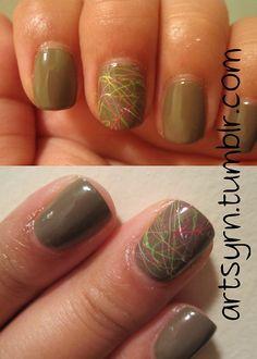 Thin splatter accent nail.