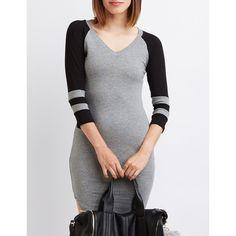 Charlotte Russe Varsity Stripe Raglan T-Shirt Dress ($25) ❤ liked on Polyvore featuring dresses, dark gray, long-sleeve mini dress, fitted t shirt dress, tee shirt dress, striped dress and charlotte russe dresses