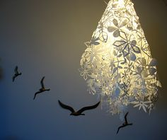 From the Time Out New York spread of our apartment in Paper Cut-outs by Tord Boontje. Bird Outline, Paper Cut Design, Paper Cutting, Cut Paper, Inspiring Things, Paper Art, Paper Lamps, Paper Folding, Fractal Art