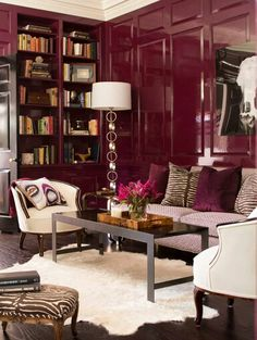 Wow - Lacquered marsala walls are a very bold yet sophisticated way to incorporate the color into your home.
