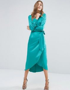 Boohoo | Boohoo Satin Wrap Tie Midi Dress