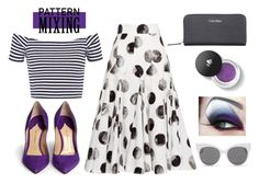 """Pattern Mixing: Polka Dots and Stripes (#2)"" by onewithbirds ❤ liked on Polyvore featuring Dolce&Gabbana, Paul Andrew, Calvin Klein, Lancôme, Blanc & Eclare, polkadotsandstripes, patternmixing and blackwhiteandpurple"