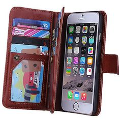 Practical Flip PU Leather Wallet Case Cover For Apple OR Samsung Various Phones