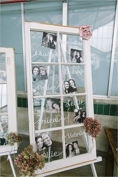 15 Unique wedding reception ideas on a budget - Simple display wedding photo on window flame, whether new of old wooden flame displays engagement photos