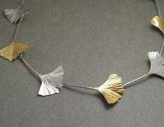 Koji  Miyazaki  KM132  Gingko Necklace - sterling silver, 24ct gold leaf,   $965