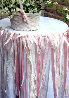 Shabby Chic Fabric Garland Pink and Cream: change to red and black using unhemmed strips of cotton fabric -- fraying won't offend the boys!