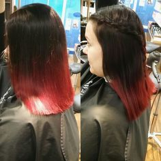 Red,ombrehair , braid
