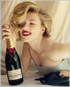 Moet & Chandon...my FAV champagne! here, with Scarlett Johansson, who obviously likes it too!