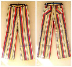 SOLD 70s hippie festival jeans / wide colorful striped pants, small, NBW
