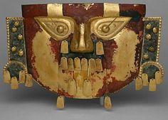 10th Century. PERU  Sicán (Lambayeque)  Gold, copper overlays, cinnabar