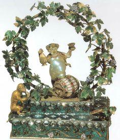 German manufacture, Bacchus, gold, enamel, gemstones, pearls baroque, 17th century, Florencen Museo degli Argenti.