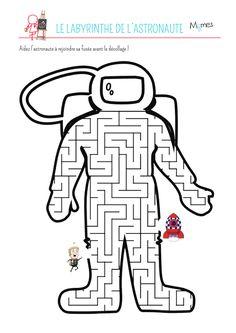 Imprimez ce labyrinthe et aidez l'astronaute à rejoindre sa fusée. Un petit jeu pour les passionnés d'astronomie.