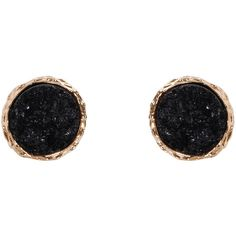 Humble Chic NY Round Druzy Studs ($24) ❤ liked on Polyvore featuring jewelry, earrings, black, imitation jewelry, drusy jewelry, artificial jewellery, druzy earrings and circle stud earrings