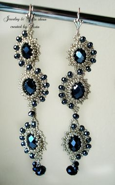 15 % off, use code CHRISTMASDREAM, Long Beaded Silver color earrings with dark blue crystals