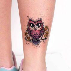cute owl tattoo on ankle