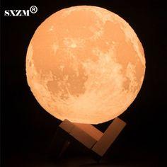 SXZM Night Light 3D Printing Moon Lamp Lunar USB Charging Night Light Touch Control Brightness Two Tone 8CM 10CM 15CM 20CM