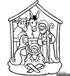 Nativity Scene Coloring Page For Preschoolers Pages