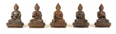 Five Dhyani Buddhas statues with their serenity