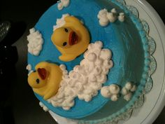 Duck theme baby shower cake