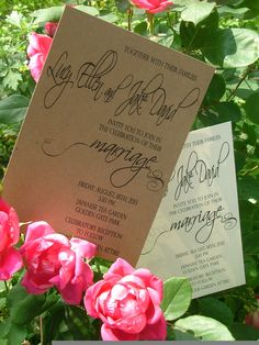 Country Chic Wedding Invitations: Lavish calligraphy script - recycled paper. $2.20, via Etsy.