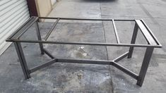 Made to order table frame. All of our frames are hand crafted out of steel. The frames come standard Industrial Table, Rustic Table, Diy Table, Steel Furniture, Table Furniture, Pipe Furniture, Furniture Design, Slab Table, Dinning Table