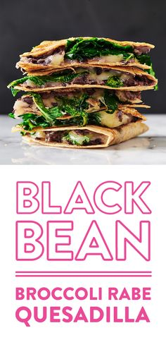 Broccoli Rabe and Black Bean Quesadillas will make you world famous for bringing a flavorful plate to the pot-luck or party. Mexican Dishes, Mexican Food Recipes, Real Food Recipes, Vegetarian Meals, Healthy Meals, Broccoli Raab, Gluten Free Tortillas, Small Bowl, Pot Luck