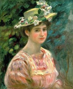 Girl with Eglantines on Her Hat by Pierre Auguste Renoir (France)