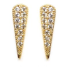 Women's Melanie Auld Pave Cubic Zirconia Spike Stud Earrings (350 GTQ) ❤ liked on Polyvore featuring jewelry, earrings, gold, melanie auld, cz jewellery, cubic zirconia stud earrings, melanie auld jewelry and pave jewelry