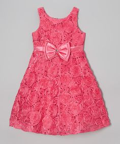 Fuchsia Sequin Rosette Bow A-Line Dress - Girls #zulily #zulilyfinds
