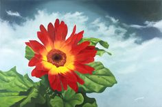 """Red Gerbera Daisy Floral artwork with three rich colors of vibrant red, greens and blues. This painting is to visually give you the feeling of depth. As if you could reach in and pluck the flower off the canvas. Blue accents the background cloudy sky which casts the flower forward even more and giving an added sense of being outdoors on a slight breezy part of the day. """"Red Gerbera Daisy"""" was exhibited in the 2013 Artisphere Artists of the Upstate Juried Exhibition Oil Paint Medium, Floral Artwork, Oil Painting Flowers, Rich Colors, Blue Accents, Gerbera, Oil Paintings, Daisy, Vibrant"""