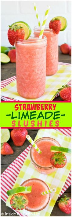 Strawberry Limeade Slushies – fresh berries, juice, and ice blended together mak… Strawberry Limeade Slushies – fresh berries, juice, and ice blended together makes a refreshing drink on a hot day! Fruit Drinks, Smoothie Drinks, Non Alcoholic Drinks, Smoothie Recipes, Cocktails, Beverages, Nutribullet Recipes, Drink Recipes Nonalcoholic, Protein Smoothies
