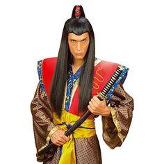 Schwarze Asia Herren Perücke Samurai Chinese Japaner Asiate schwarz Samuraiperücke Kostüm Accessoire Fasching