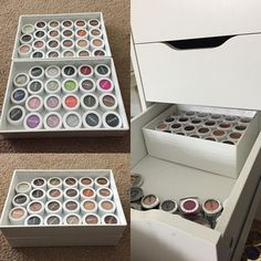 I could cry of happiness. I finally found a way to store my @colourpopcosmetics (all thanks to the girls at COLOURPOP who gave me the idea lol) these containers are from poppin.com! AND they are stackable!!!!!! 4 fit perfectly in my deep Alex drawers.