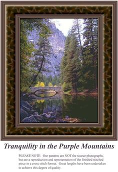 Tranquility in the Purple Mountains, alluring landscapes counted cross stitch patterns, designs, charts, kits