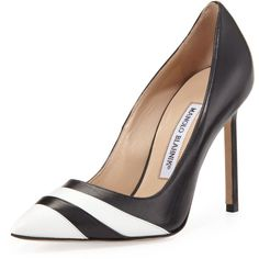 Manolo Blahnik Bicolor Point-Toe Pump, Black/White (€300) ❤ liked on Polyvore featuring shoes, pumps, heels, striped pumps, pointed toe high heel pumps, black and white striped shoes, pointy-toe pumps and high heel pumps