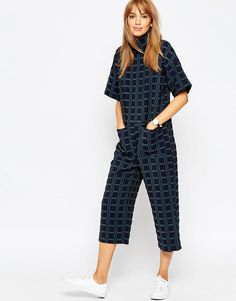 Image 1 of ASOS Jumpsuit in Jacquard with High Neck
