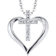 Crystal Sophistication™ Crystal Silver-Plated Heart and Cross Pendant... ($42) ❤ liked on Polyvore featuring jewelry, necklaces, long cross necklace, heart shaped pendant, crystal pendant necklace, crystal necklace and pendants & necklaces