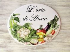 Vegetable garden personalized house sign, Hand painted house sign, Kitchen sign, Porcelain sign, Address plaque, Outdoor House Sign,