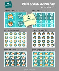 Printable/Customizable Frozen Party Kit for Kids by OopsyPrintableIdeas on Etsy