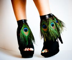 Peacock Feather Ankle Cuffs with band.
