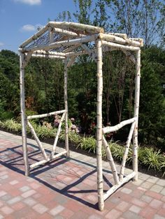 Hand-crafted Rustic Birchwood Arbor