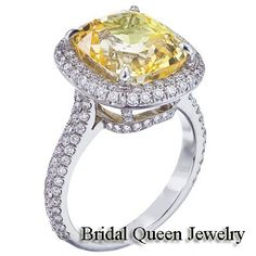 Beautiful  Engagement Ring 2.50 Ct.Total Cushion Cut  Diamond Fancy Yellow 18k...only $3000!