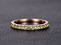 14K Rose Gold Wedding Band Half Eternity Ring Peridot Engagement Ring Stackable Ring Pave Peridot Ring Peridot Wedding Ring