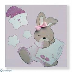 Cuadro infantil personalizado: Conejita dormilona (ref. 19006-01)
