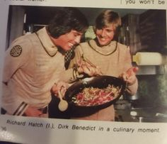 """Richard Hatch and Dirk Benedict in a culinary moment"" - Battlestar Galactica (1978-79)"