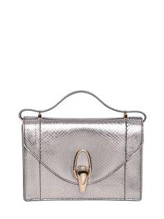 Giorgio armani Metallic Python Shoulder Bag in Silver