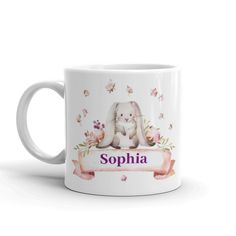 Personalised Childs Mug - Kids cup with cute bunny design - Easter gift idea Cartoon Reindeer, Childrens Mugs, Gifts For A Baker, Christmas Mugs, Baby Grows, Easter Gift, Cute Bunny, Kid Names, Personalized Baby