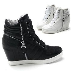 Womens Black White Zippers High Top Hidden Wedge Sneakers Ankle Boots #hightopstore511 #FashionSneakers